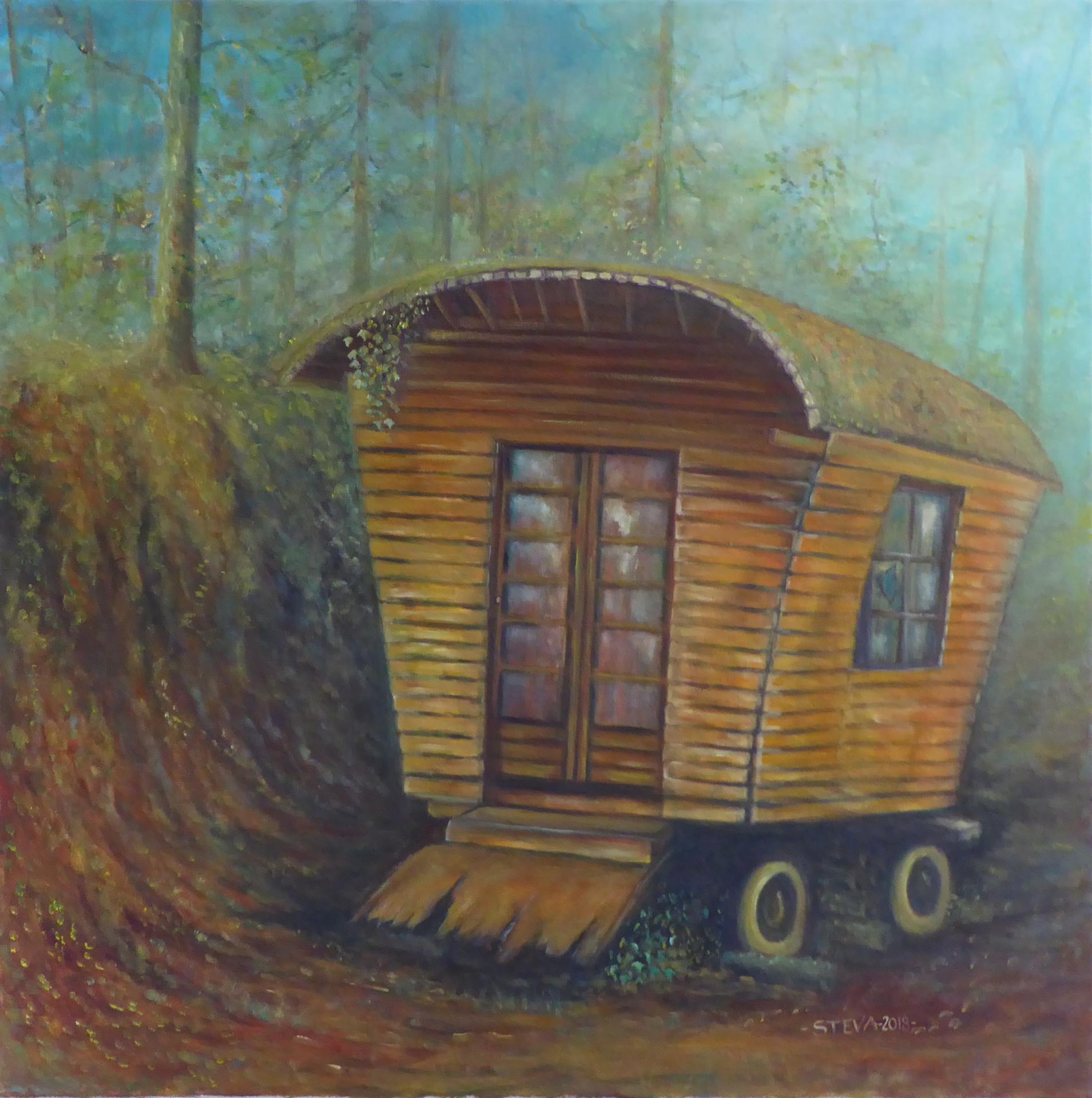 La roulotte abandonnée  , huile 80x80 cm, CP