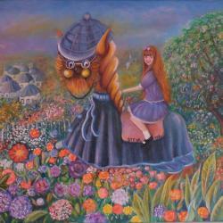 Voyage au Pays d'Alice huile sur toile 1994, 73x60 cm