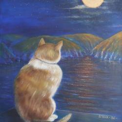 Chat-Lune, ou les méditations d'un Chat,  huile sur toile 1996, CP Belgique