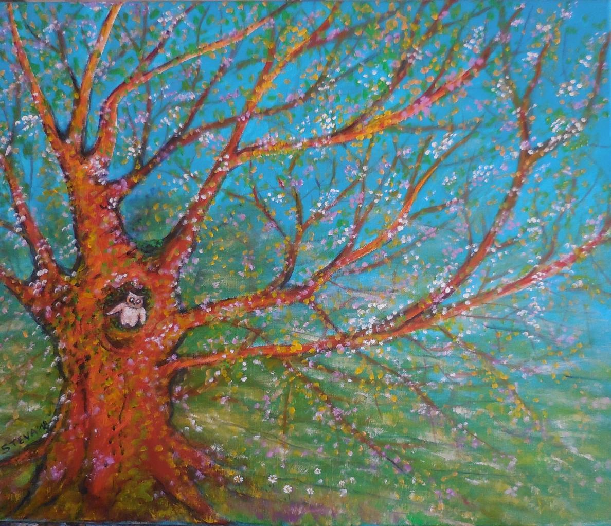 La petite chouette qui attend le printemps, acrylique/toile 55x46 cm CP