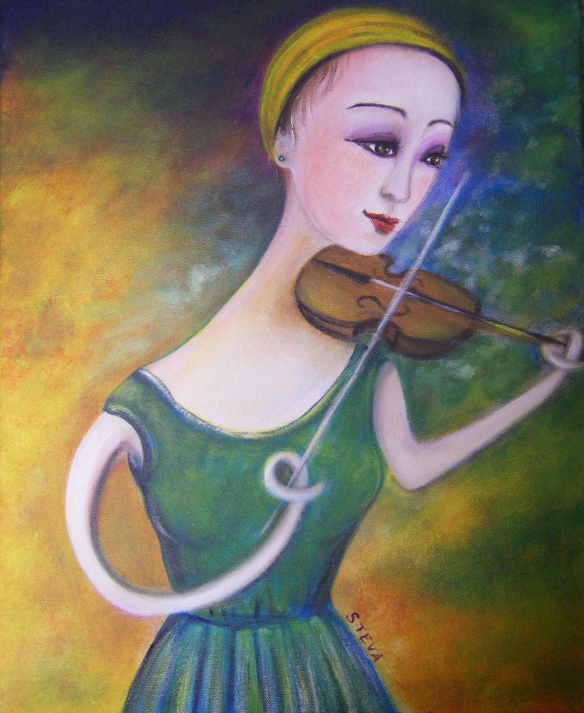 Femme violon , acrylique sur toile, CP