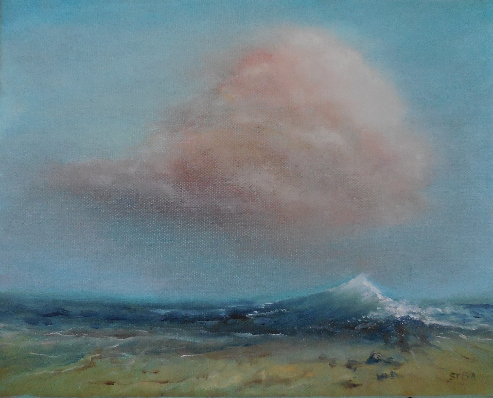 la vague et le nuage 30x24 cm (CP)