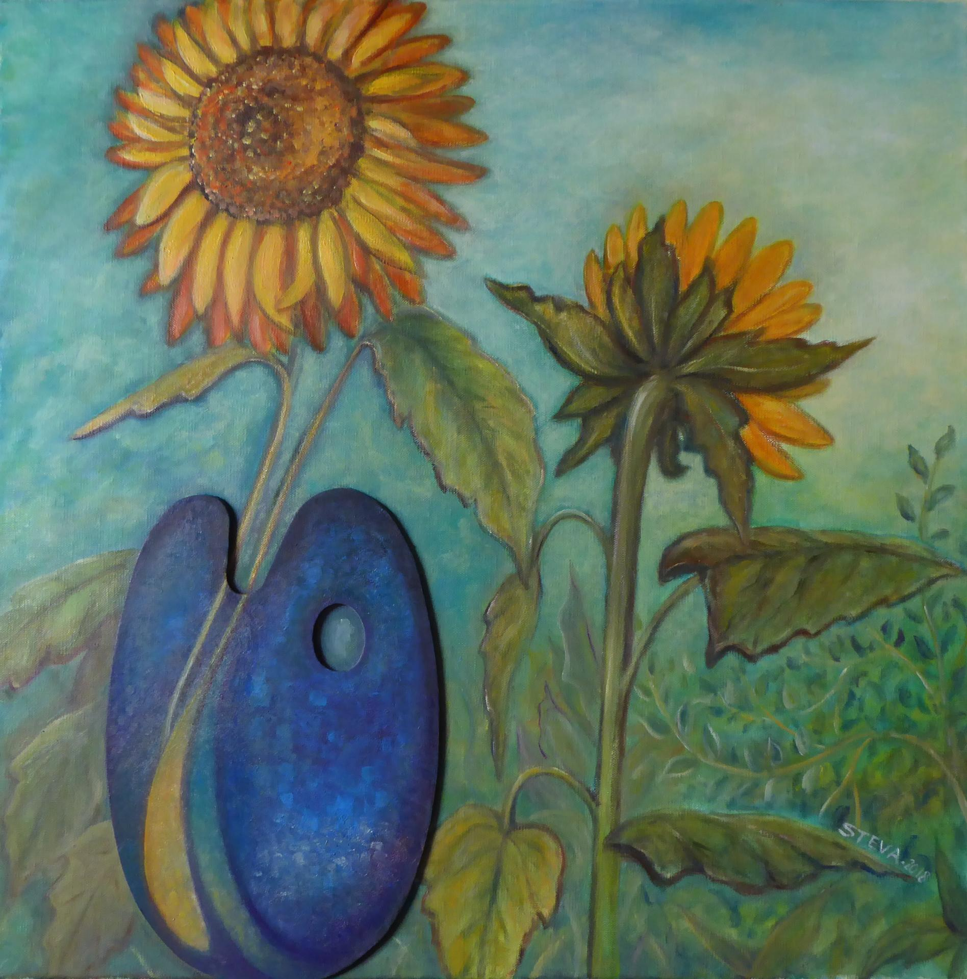"""Osmose"" huile et collage 60x60 cm"