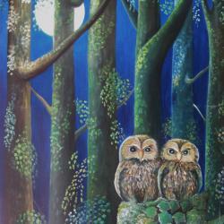 Pleine Lune en Forêt- 65x80 cm- 1995, collection particulière
