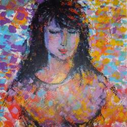 Portrait d'une rêveuse 55x46 cm, acrylique,  2017,CP