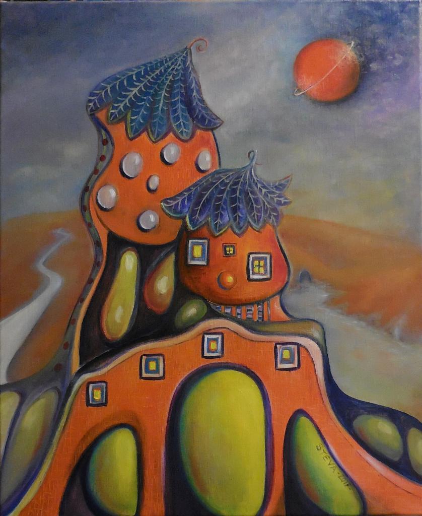 Steva's house 4 01 2016 , huile sur toile, 61 x50 cm, CP