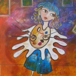 Madame La Peintresse, 40x40 cm acrylique, CP