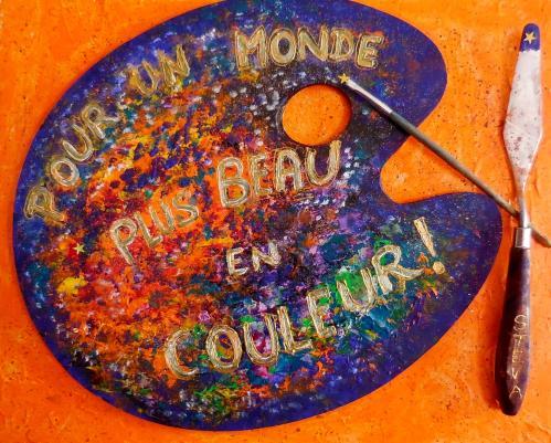 Palette magique, collage palette et outils sur panneau de bois