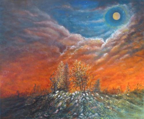Ce que les astres disent à la nuit, huile 65x54 cm 2018