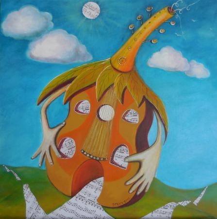 La maison du guitariste, acrylique et collages sur toile, 60x60 cm