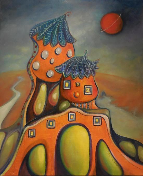 Steva's house, huile sur toile 2016, 61x50 cm