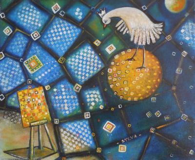 L'énigme, huile sur toile 2015 format 46x38 cm