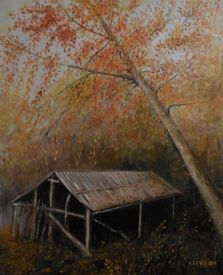 Cabane a l arbre penche 61x50 cm huile 28 11 2016