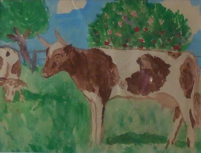 Vaches dans un pré, gouache 1976. Première peinture