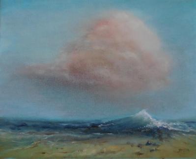 La vague et le nuage 30x24 cm huile fevrier 2019