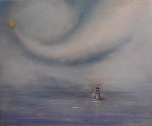 Solitude marine, huile 46x38 cm