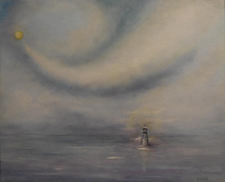 Nature solitude marine huile 46x38 cm 2015
