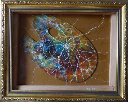 Palette hypnotique (avec cadre double) acrylique et collage