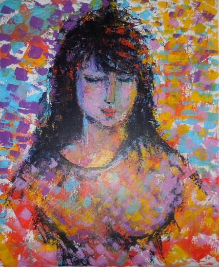 Portrait d une reveuse 55x46 cm