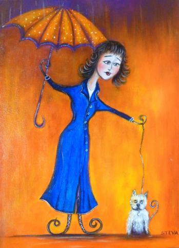 Portrait la p tite dame au parapluie