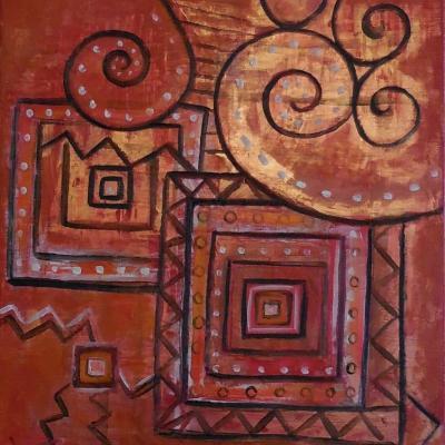 Abstraction cuivrée, acrylique, , 46x38 cm