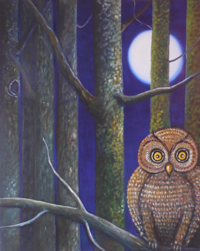 Les yeux de la nuit, huile sur toile, 81x65 cm, CP