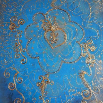 L''accroche-coeur, acrylique et reliefs dorés, 61x50 cm, CP