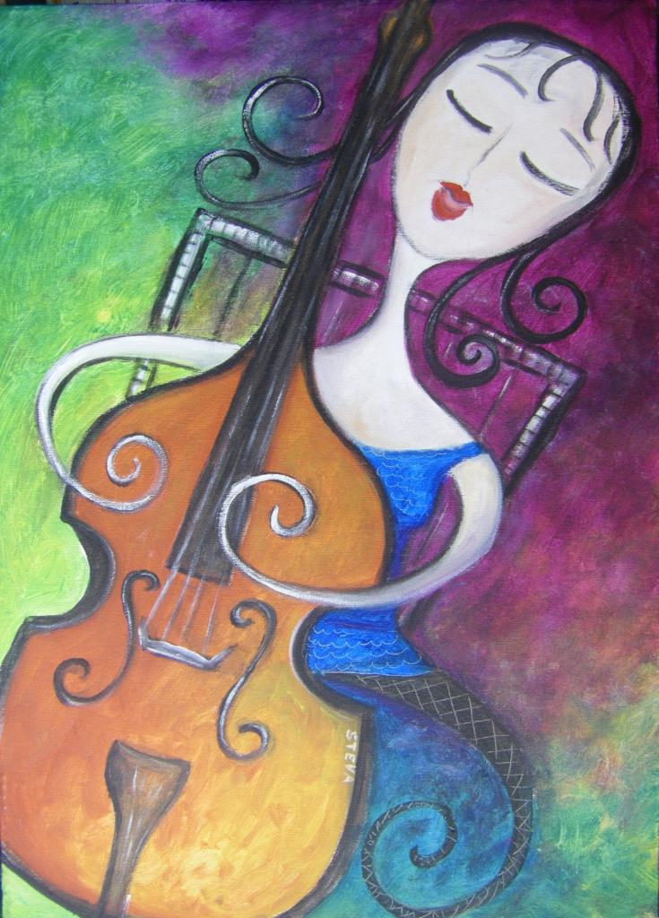 Femme Contrebasse. CP acrylique 2011