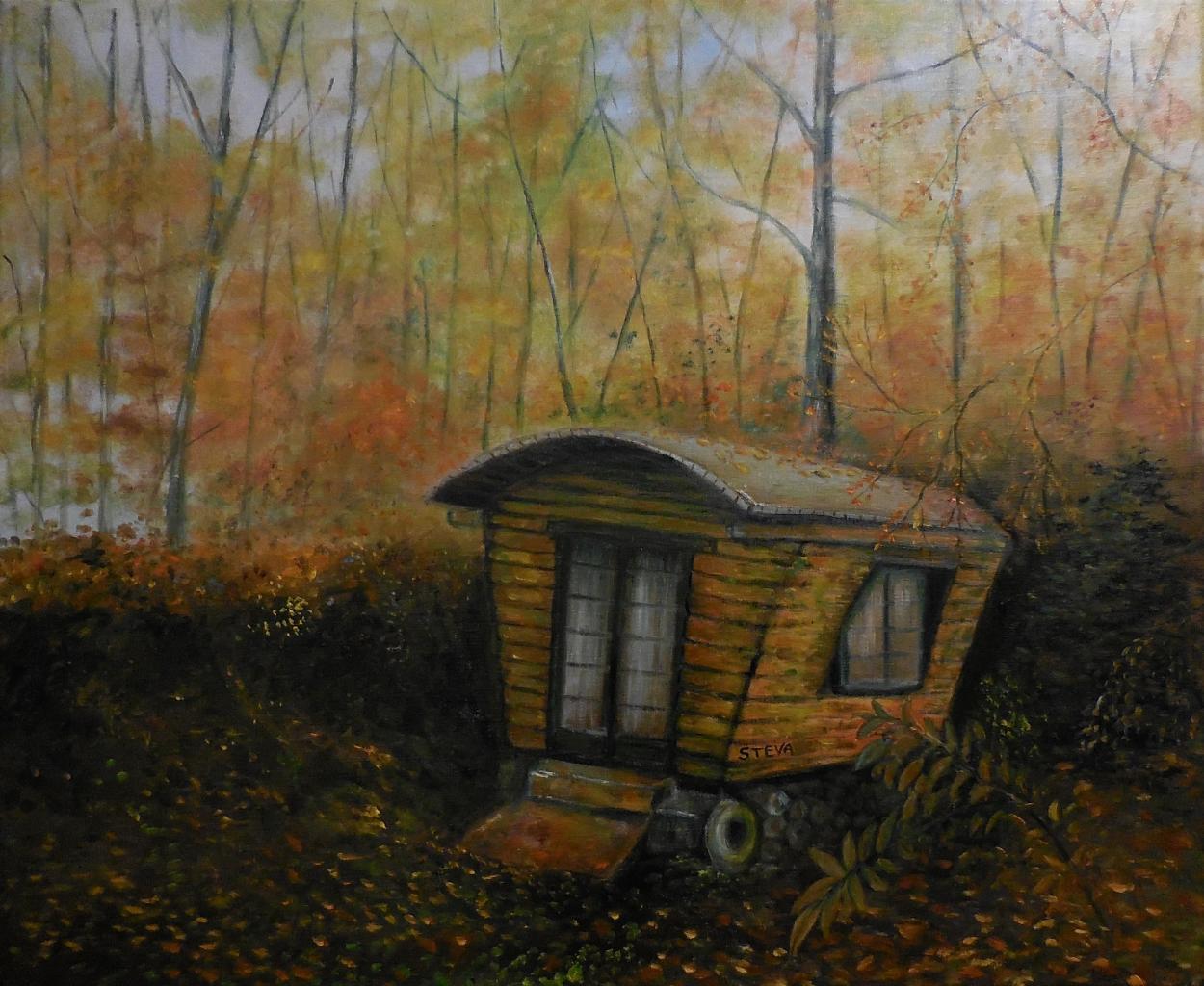 La roulotte abandonnée huile sur toile 61 x50 cm , vendu