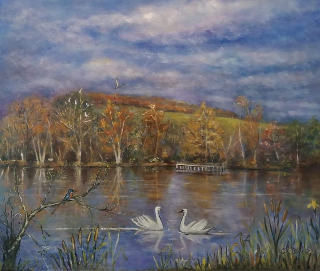 Le lac , commande particulière huile , 46x55 cm, 2021