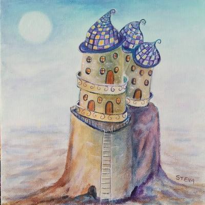 Maison phare huile cp 20x20 cm 2019