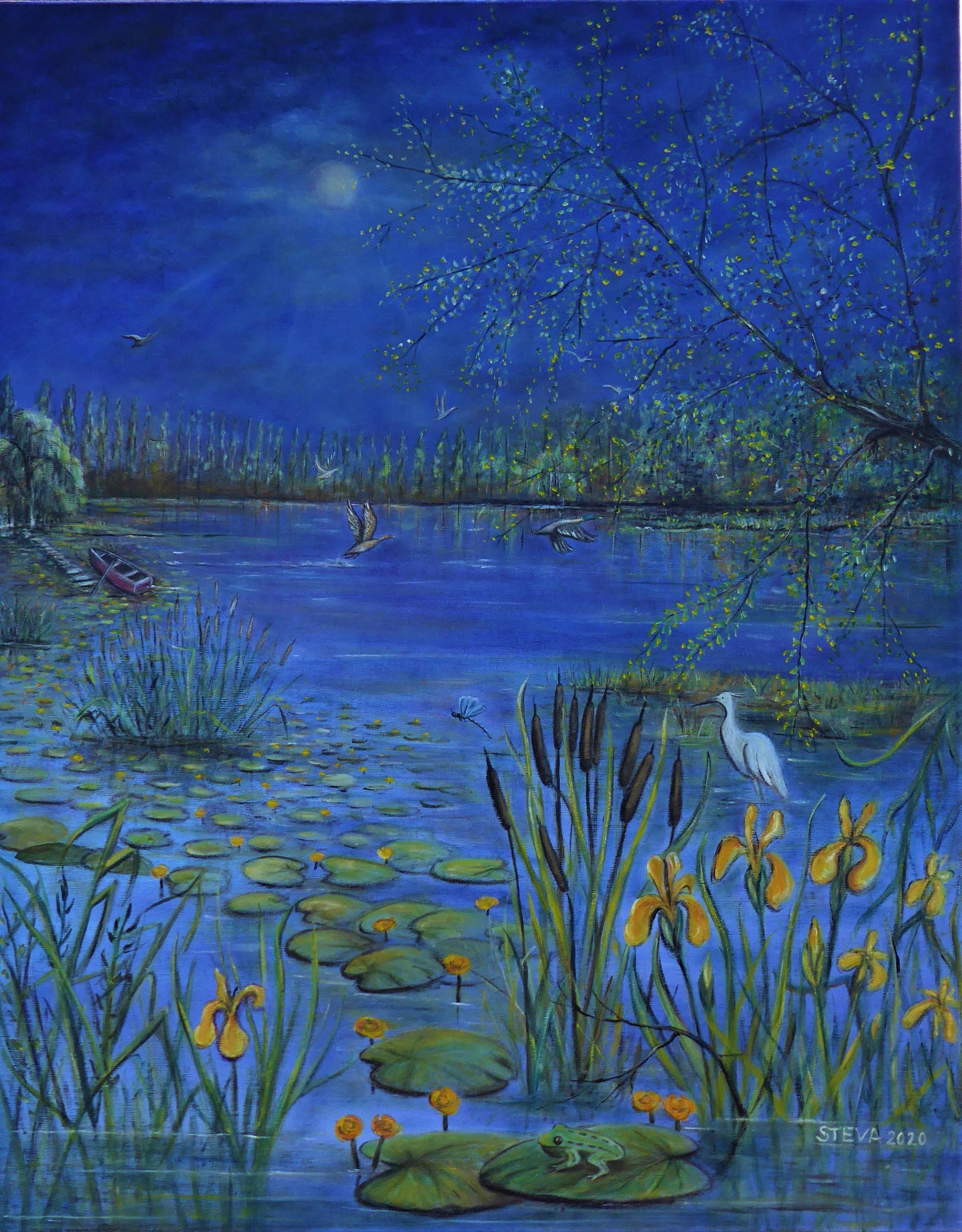 L'étang, huile sur toile