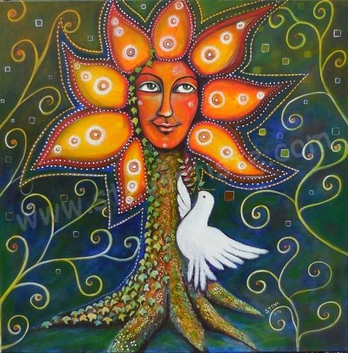Paix portrait reve de paix acrylique sur toile 2014