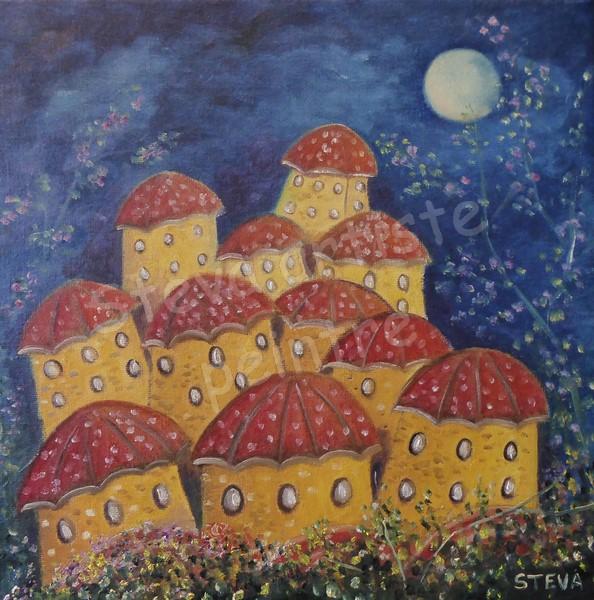 Steva-village aux 11 maisons-30x30 cm-huile-2020