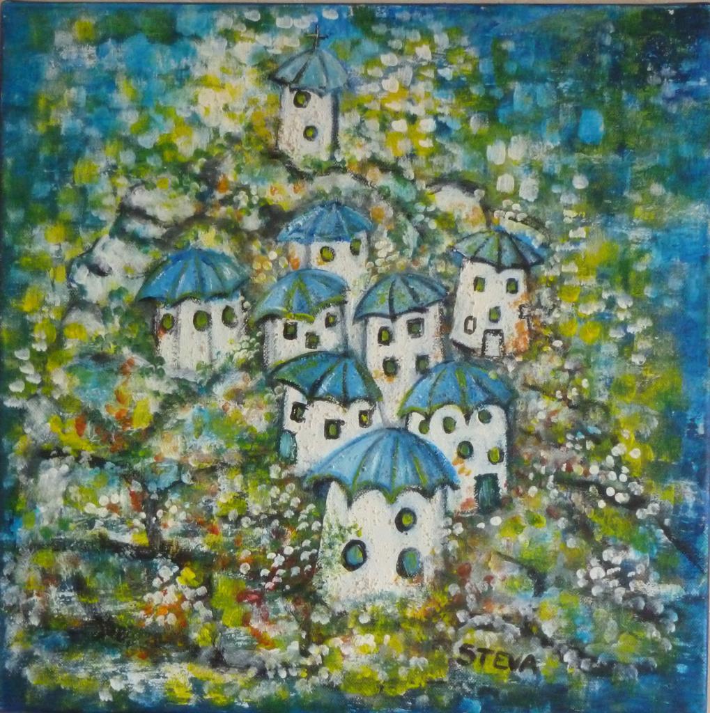 Village bleu, acrylique sur toile 40x40 cm, CP