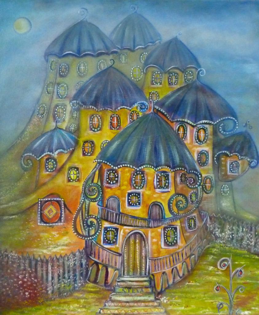 Village dans la brume, 46x54 cm , CP