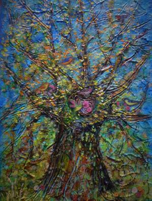 Fin d ete dans un arbre 33x24 cm acrylique