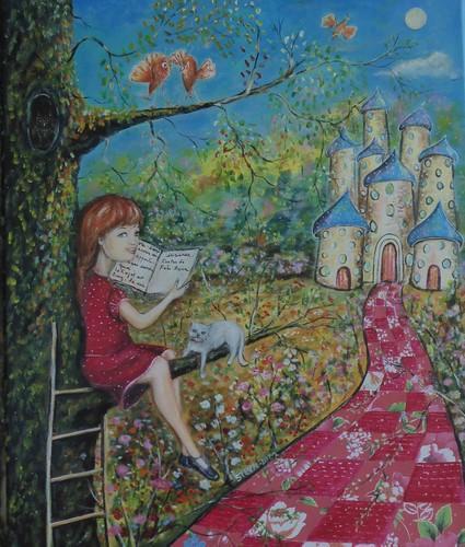 Voyage d'une jeune fille au pays des contes (oeuvre vendue)