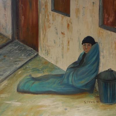 SOS, collection particulière, huile sur toile 1990 ,93x70 cm