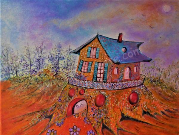 Steva la maison d une artiste huile 40x30 cm