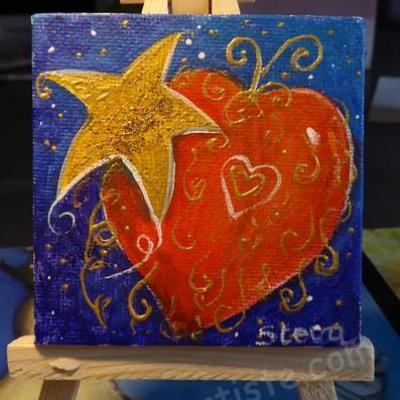 Coeur et étoile 7x7cm
